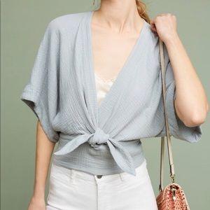 Anthro Floreat Raeka Tie-Waist Kimono Crop Top